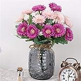 ADLFJGL Kunstblumen Im Topf,Gerbera Künstliche Blumen Brautstrauß Wohnzimmermöbel Künstliche Blumen Geburtstagsfeier Blumendekoration Lila