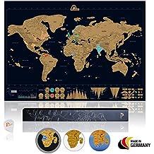 Amazy Weltkarte zum Rubbeln XXL inkl. Rubbelchip + Gratis-Packliste (PDF) – Große Rubbel-Landkarte als schöne Erinnerung an bisherige Reisen   Made in Germany (Schwarz   84 x 59 cm)