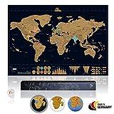 Amazy Weltkarte zum Rubbeln XXL inkl. Rubbelchip + Gratis-Packliste (PDF) – Große Rubbel-Landkarte als schöne Erinnerung an bisherige Reisen | Made in Germany (Schwarz | 84 x 59 cm)