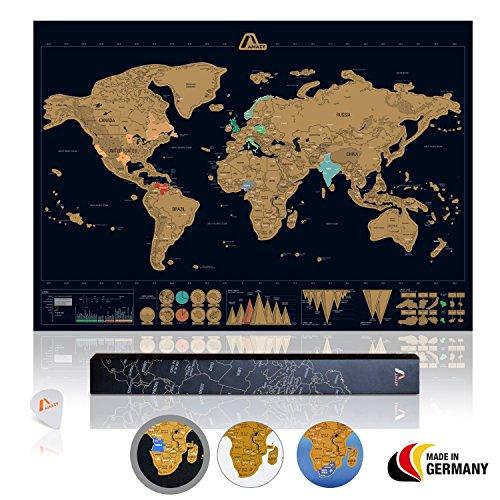Amazy Weltkarte zum Rubbeln XXL inkl. Rubbelchip + Gratis-Packliste (PDF) - Große Rubbel-Landkarte als schöne Erinnerung an bisherige Reisen | Made in Germany (Schwarz | 84 x 59 cm) (Welt-reise-karte)