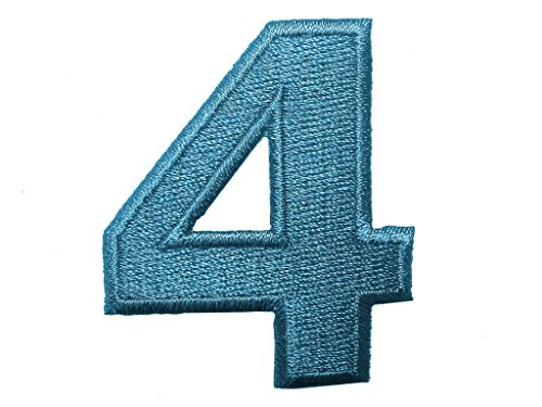 Aufnäher/Aufbügler - Zahl/Ziffer blau - Alle Zahlen einzeln auswählbar, Zahl/Ziffer:Zahl 4 - 4.9x4.1cm (Gestickte Zahlen)