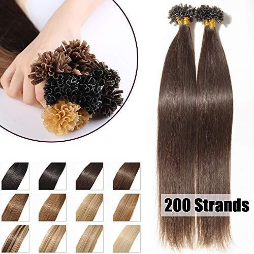 Extension Cheveux Naturel Keratine 200 Mèches - Pose a Chaud 100G - #02 Brun - 40cm