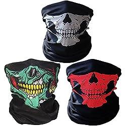 3 x Premium multifunción Bandana | Braga | | paño de manguera | Pañuelo con calavera de esqueleto Máscaras para moto bicicleta Esquí Paintball Gamer Carnaval Disfraz Calavera Máscara … (green/white/red)