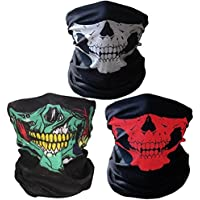 Super Things Black Breathable Seamless Tube Skull Face Mask,3 Motorcycle Face Masks
