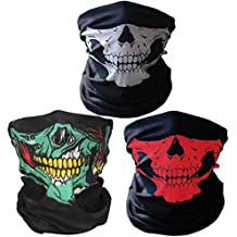 Super Things Black Breathable Seamless Tube Skull Face Mask,3 Motorcycle Face Masks (Green/White/Red)