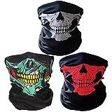 3X Premium Multifunktionstuch | Sturmmaske | Bandana | Schlauchtuch | Halstuch mit Totenkopf- Skelettmasken für Motorrad Fahrrad Ski Paintball Gamer Karneval Kostüm Skull Maske … (Weiss/Grün/Rot)
