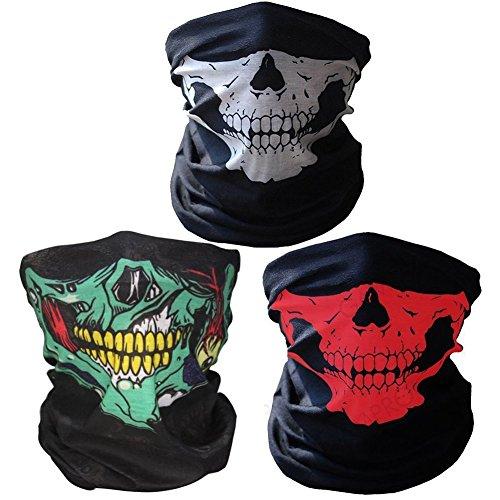 Preisvergleich Produktbild 3x Premium Multifunktionstuch | Sturmmaske | Bandana | Schlauchtuch | Halstuch mit Totenkopf- Skelettmasken für Motorrad Fahrrad Ski Paintball Gamer Karneval Kostüm Skull Maske … (Weiss/Grün/Rot)
