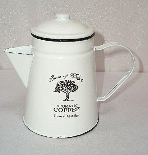 Nostalgie Kaffeekanne, Emaille Kaffeekanne weiß- schwarz, 1,2 Liter
