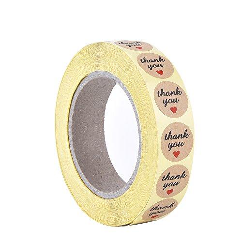 Outus Thank You Grazie Etichette Adesive Rotondi con Cuore Rosso, 1 Pollice