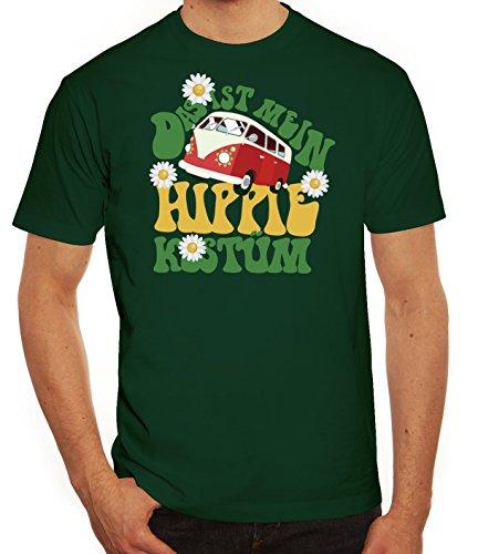 ShirtStreet Fasching Karneval Herren T-Shirt mit Das ist Mein Hippie Kostüm Motiv, Größe: M,Dunkelgrün