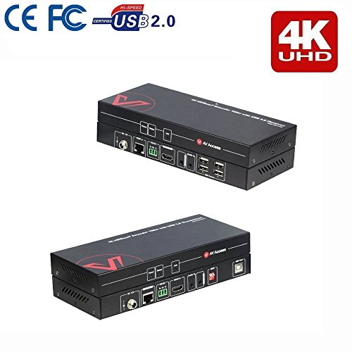 HDMI USB KVM Extender(HDBaseT), Uncompressed 4K60Hz & 1080P over single CAT5e / CAT6 100m with Zero Latency, High-speed 4 ports USB 2.0 Hub, EDID with DIP switch, RS232, HDR & Dobly Vision, Dolby Atmos & DTS:X (Ps/2-kvm-extender)