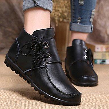 RTRY Scarpe Da Donna In Pelle Di Nappa Fall Winter Snow Boots Fashion Stivali Stivali Bootie Tacco Piatto Babbucce/Stivaletti Lace-Up Per Outdoor Casual US6.5-7 / EU37 / UK4.5-5 / CN37