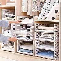 Yoillione Plastic Wardrobe Storage Organiser Wardrobe Closet Storage,White Wardrobe Organiser Shelves Wardrobe Cupboard Organiser,Stackable Storage Baskets Can Pull and Push like a Drawer
