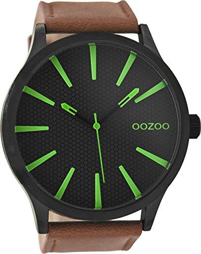 Oozoo Herrenuhr mit Lederband 50.5 MM Black/Schwarz/Braun C9041