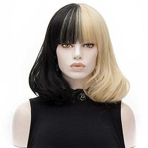 ATAYOU® 2 Töne Kurze Gerade Schwarz Blonde Synthetische Cosplay Bob Perücken für Frauen Kostüm (Halb Schwarz Halb Blond)