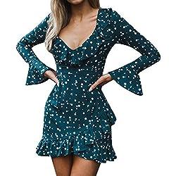ZODOF Mini Vestido Ropa de Mujer Sexy Hoja de Loto Ocio Vestido de Noche de Manga Larga Color sólido Mujeres Volantes de Verano Floral Dot Imprimir V Cuello Sexy Mini Vestido Corto Vestido