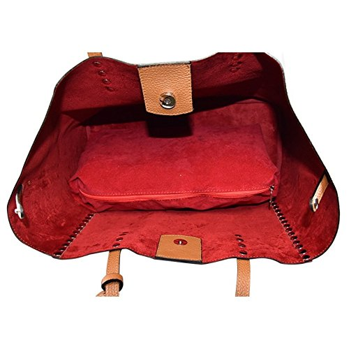 ZETA SHOES Borsa a Spalla Donna in Vera Pelle Made in Italy 38x27x17 MainApps Rosso