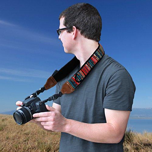 Premium Kameragurt Strap / Kamerariemen Schultergurt / Trageriemen Nacken Kameragurt für DSLR Spiegelreflexkamera wie Canon EOS 1300D 750D 700D 80D Nikon D5300 D3300 D7200 D5500 D500 D750 und mehr - 4