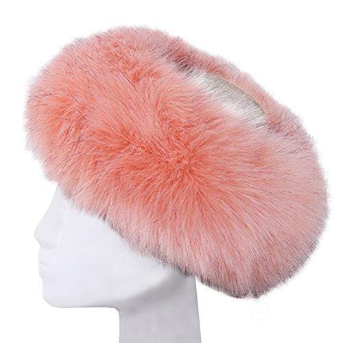 Vandot Men Women Unisex Faux Fox Fur Fluffy Sombrero Gorros Invierno Cálido Orejeras Earmuff Cap Pelo Sintético Diadema Tocado Cosaco Ruso para Hombre Mujer Esquí, puede usar como Bufanda, Rosa