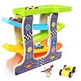 HOWADE Holz Rennstrecke Auto Spielsets, Baby Kinder Holz Leiter Gleitschlitz Track Car Spielzeug mit 4 Mini Rennwagen Set für Kinder Kleinkinder