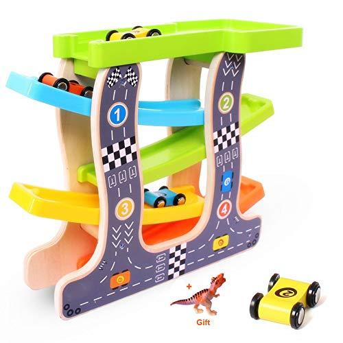 HOWADE en Bois de Course Piste de Jeux de Voiture, bébé Enfants en Bois échelle Glisse Slot Voiture Jouets 4 Mini Voitures de Course Enfants en Bas âge