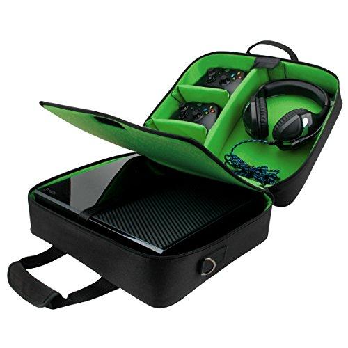 Tragetasche für Xbox Konsolen von USA Gear: Schutz-Travel Case mit verstellbarem Schultergurt, unterteilbaren Fächern für Zubehör & Games, geeignet für Xbox One X / Xbox One S / Xbox 360 & mehr