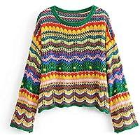 Señoras Ahuecado Jersey De Punto, Suéter De Rayas De Colores,Rayas Verdes,L