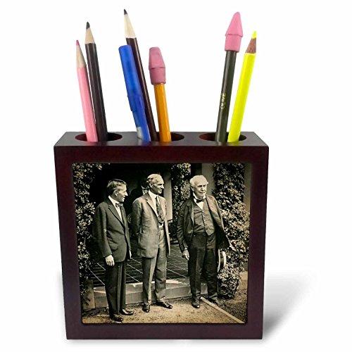 3dRose 246281_ PH 15Harvey Firestone Henry Ford Thomas Edison (Harding grabrede Kachel-Pen Holder
