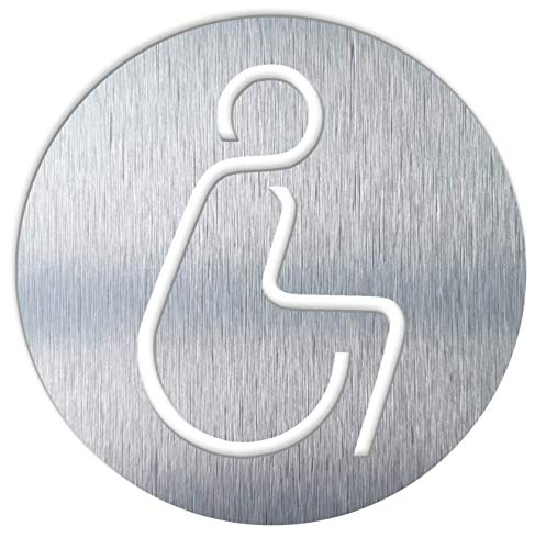 BSYDESIGN Aluminium Handicap Badezimmerschild - Behindertenschild - Park-Rollstuhl-Symbol - Behinderten-Aufkleber - Handicap Moderne Toilette Schild - Rollstuhl-WC Piktogramm