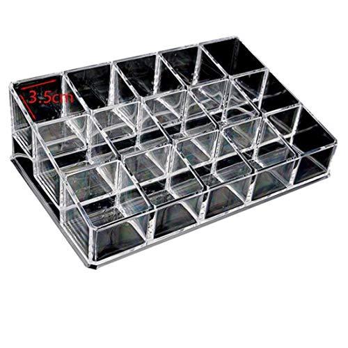 Klerokoh Transparente Kosmetik-Aufbewahrungs-Serie 15 Gitter-Aufbewahrungsbox Lippenstift Nagellack Kosmetik Sample Organizer (Color : Clear) (Kosmetik Sample-größe)