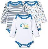 Schnizler Baby-Jungen Body Langarm, 3er Pack Bagger, Oeko-Tex Standard 100, Blau (original 900), 86 (Herstellergröße: 86/92)