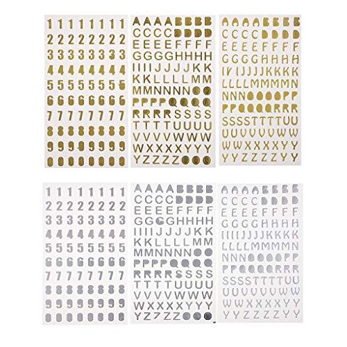 Hellery 6pcs Glitter Craft Aufkleber Alphabet Buchstaben Zahlen Silber Gold Card Crafts