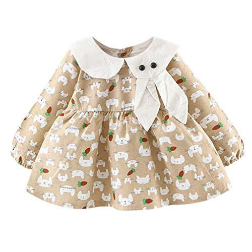 Kinder Langarm Puppenkragen Cartoon Bunny Rock Kleid, Infant Baby Girls Langarm Kaninchen Print Prinzessin Kleider Kleidung (Khaki, 9/L) - Leder-stirnband-spitze Verziert