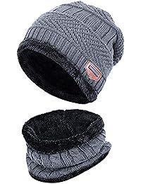 ALIKEEY 2 Piezas De Invierno Gorro Gorro Bufanda Conjunto Cálido Sombrero  De Punto De Punto Grueso 4b3dbead2b5