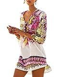 AiJump Femmes Ete Floral Imprime Tunique Cache-maillot Sarong Plage Soleil Boheme pour Maillot de Bain Bikini Cover Up, Beige Multicolore, Taille Unique