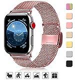AK Bracelet de Remplacement Compatible avec Apple Watch Bracelet 40mm 38mm| Acier Inoxydable| de Rechange Smartwatch avec Aimant compatibles avec iWatch Series 5/4/3/2/1 (04 Rose, 38mm/40mm)