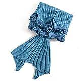 Manta de cola de sirena para niños, manta de sirena de ganchillo, saco de dormir, cálida manta de sofá hecha a mano, manta de salón, sirena, regalo para niñas talla única azul