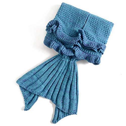 Meerjungfrau Decke, Handgemachte Häkeln MermaidDecke Meerjungfrau Strickmuster Schlafsack, Schlafsack MermaidTail Fischschwanz Kuscheldecke Sofadecke MermaidFlosse Blau