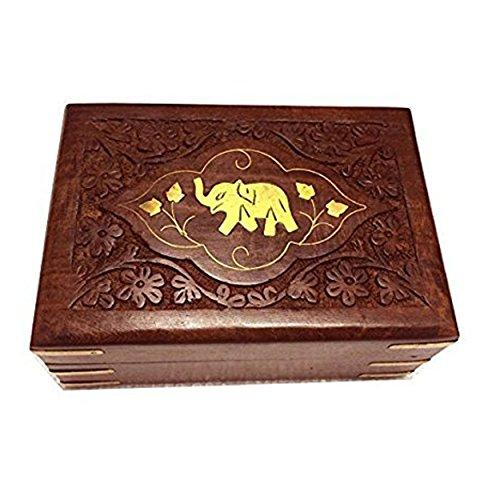 Boîte à bijoux en bois à la main éléphant Centre Carving travail, boîte de rangement, boîte Vintage, boîte à souvenirs polyvalent pour les filles et les femmes 7 X 5 pouces, Pâques / fête des mères / bon vendredi cadeau