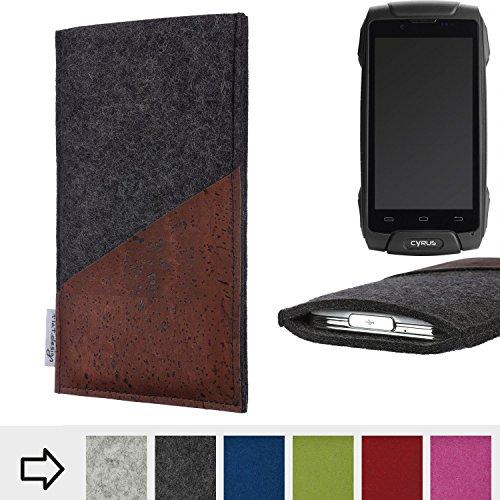 flat.design Handy Hülle Evora für Cyrus CS 30 handgefertigte Handytasche Kork Filz Tasche Case fair dunkelgrau