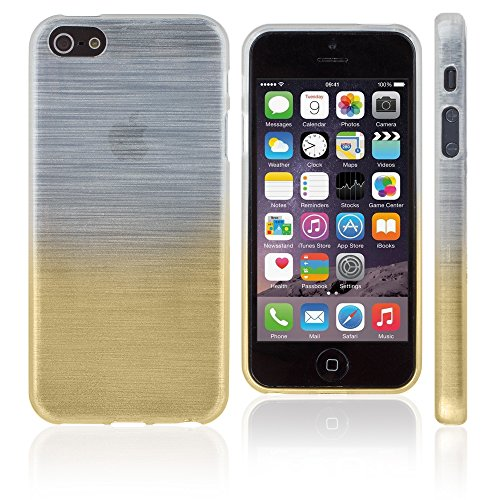 Xcessor Transition Farbe Flexible TPU Case Schutzhülle für Apple iPhone SE 5 5S. Mit Gradient Silk Gewinde Textur. Transparent / Grau Transition / Gold