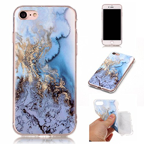 Cozy Hut Für iPhone 7 Handyhülle mit Marmor / Marble Design(blau / weiß) | Handytasche | | Schale | | Hülle | | Case | Handy-etui | TPU-Bumper | Soft Case | Schutzhülle Cover für den optimalen Schutz ihres Apple iPhone 7 (4,7 Zoll) - Marmor-blauer Marmor