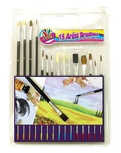Artbox Manche en bois Peinture Pinceau (Lot de 15)