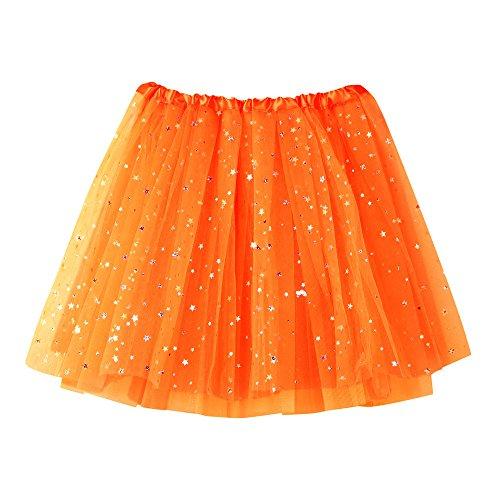 Xmiral Tutu Damen Rock Tüllrock Kurz Ballet 3 Layers Tanzkleid Zubehör für Frauen Mädchen(Orange)