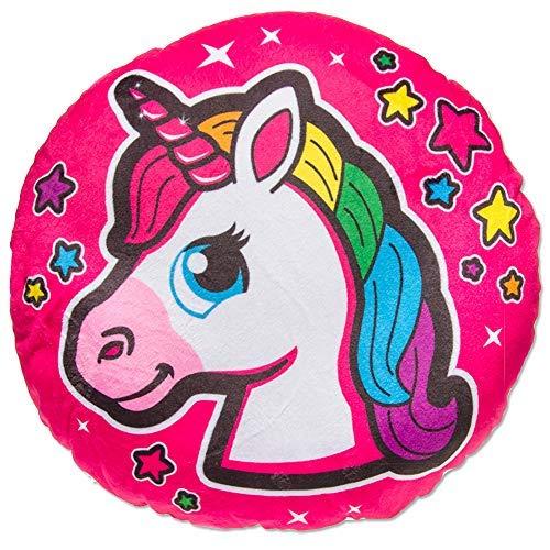 rn Regenbogen Unicorn Motiv Plüsch Kissen Zierkissen Kuschelkissen Kinder Mädchen rund 34cm Mehrfarbig pink Pferdekopf ()