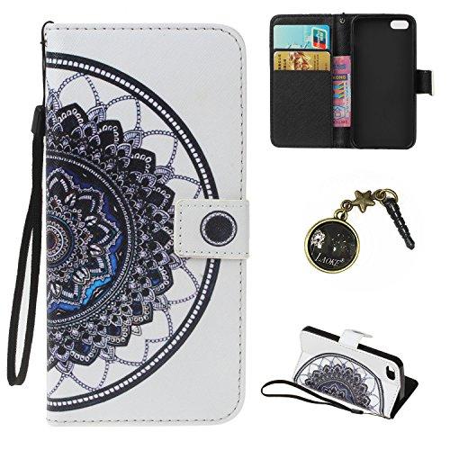 iPhone 5 Hülle,iPhone 5s case vintage ledertasche, Handy Schutzhülle für iPhone 5 / 5S / SE Hülle Leder Wallet Tasche Flip Brieftasche Etui Schale (+Staubstecker) (9) 4