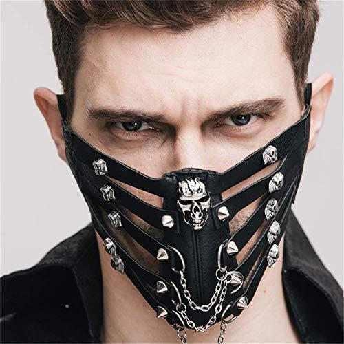Masquerade Halbmasken - KIYOUMI Personalisierte Nietmaske aus Leder,