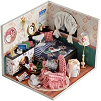 Dollhouse Miniature DIY Dolls House Room Kit with Furniture Handicraft with Dust Proof Cover for Xmas Birthday