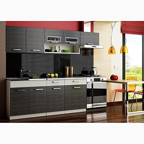 Justhome moreno cucina componibile cucina colore: nero aluminium
