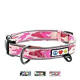 PAWTITAS Pet Klassische Verstellbare Gepolsterte Reflektierende Hundehalsbänder, Extra groß/groß (42-62 cm Durchmesser) Rosa Tarnung L/XL
